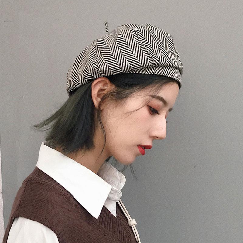 韩版秋冬新品毛呢帽子女英伦复古格纹八角帽贝雷帽画家帽报童帽潮