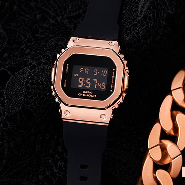 家電城CASIO卡西歐G-SHOCK玫瑰金女士手錶小方錶GM-S5600PG-1/4/SB/SK-7