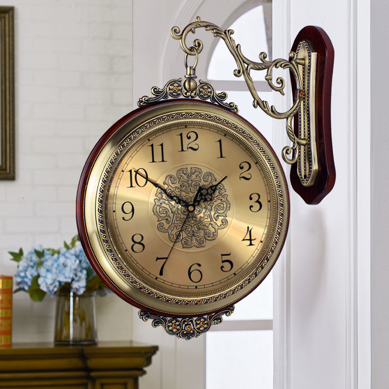 Love When The European Solid Wood Metal Double Sided Wall Clock Living Room Mute