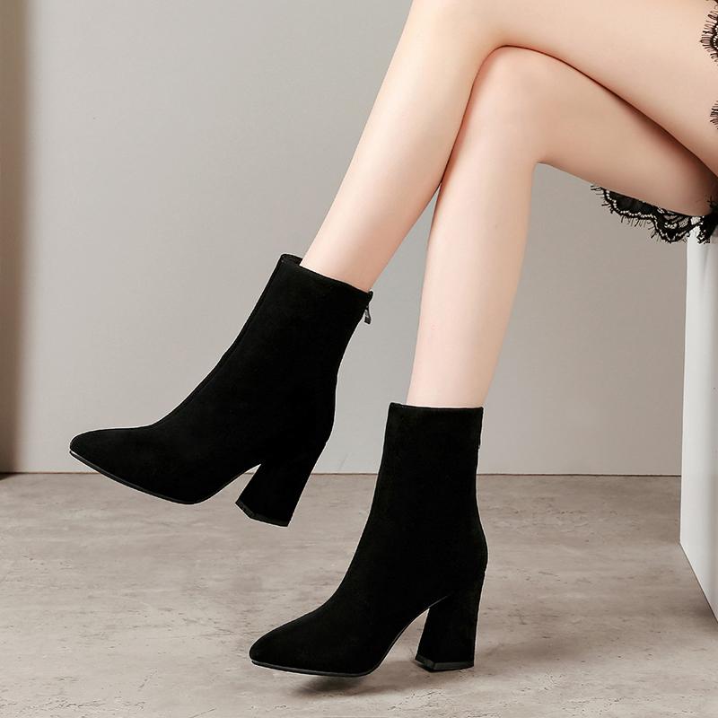 2019秋冬季新款女靴真皮粗跟短靴女尖头中筒靴磨砂高跟马丁靴单靴