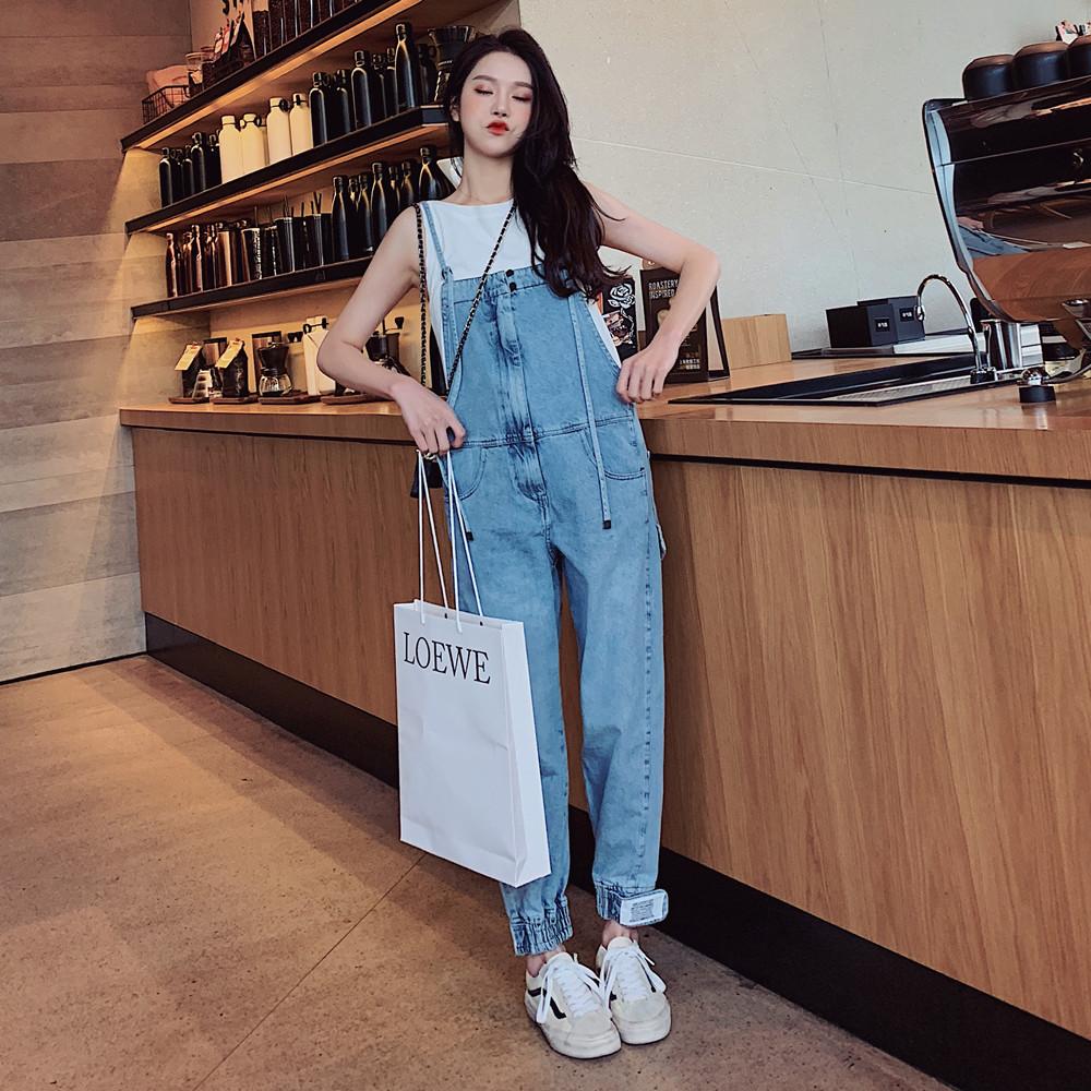 网红背带裤森女系2019春季韩版宽松小个子显瘦牛仔裤女直筒长裤
