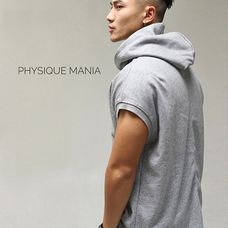 PHYSIQUE MANIA Fitness Sleeveless Hoodie Sweater Training Top Solid Color Men's European and American Style Sportswear