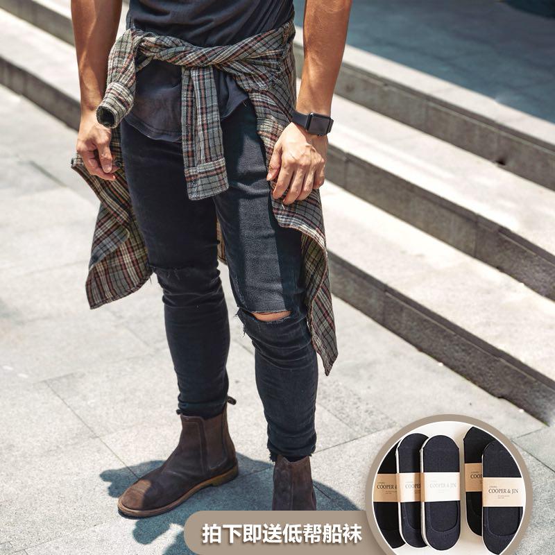 Фитнес джинсы Спорт супер эластичные черный Сломанная карта уличной волны приталенный Брюки ноги мужской джинсовый для отдыха Кальсоны