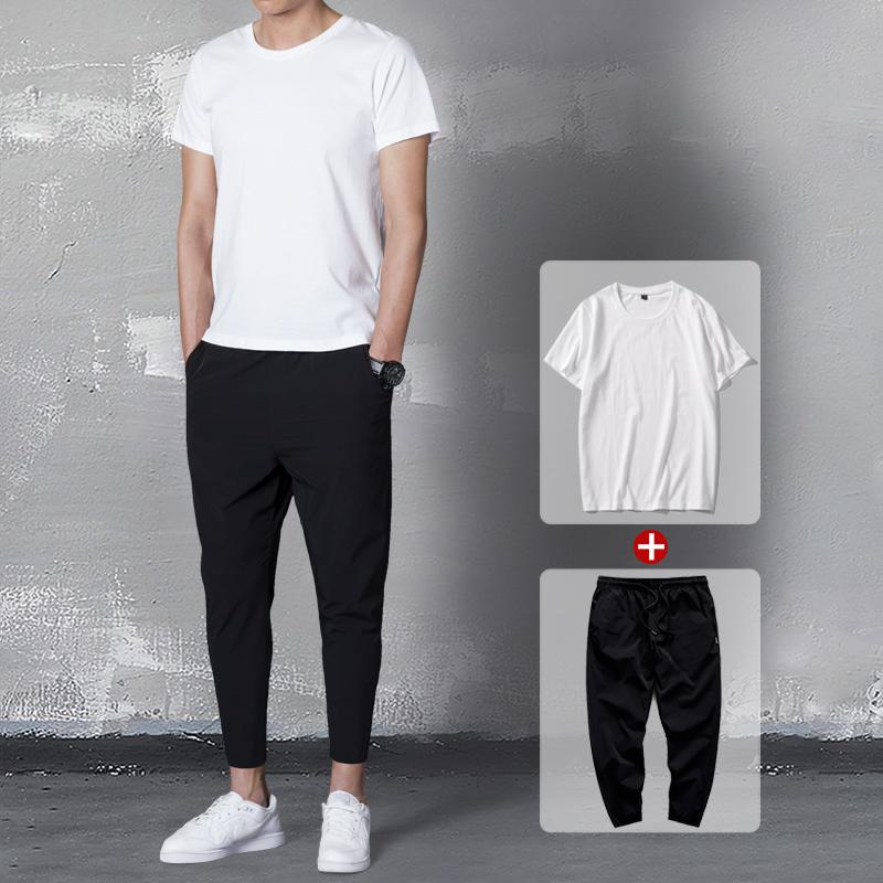 夏季套装男士2018新款薄休闲短袖T恤男九分裤两件套韩版潮流体恤[券后79.00元]