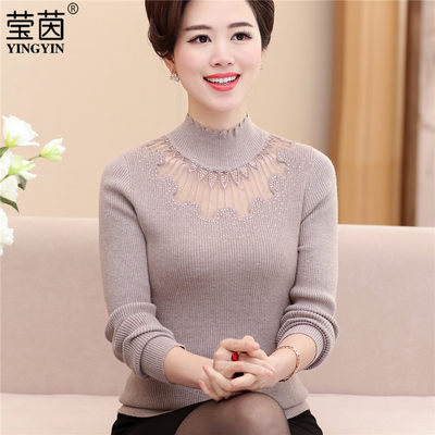 Mother, spring, autumn, knitting, bottoming shirt 40-50, middle-aged, autumn, winter, sweater sweater top