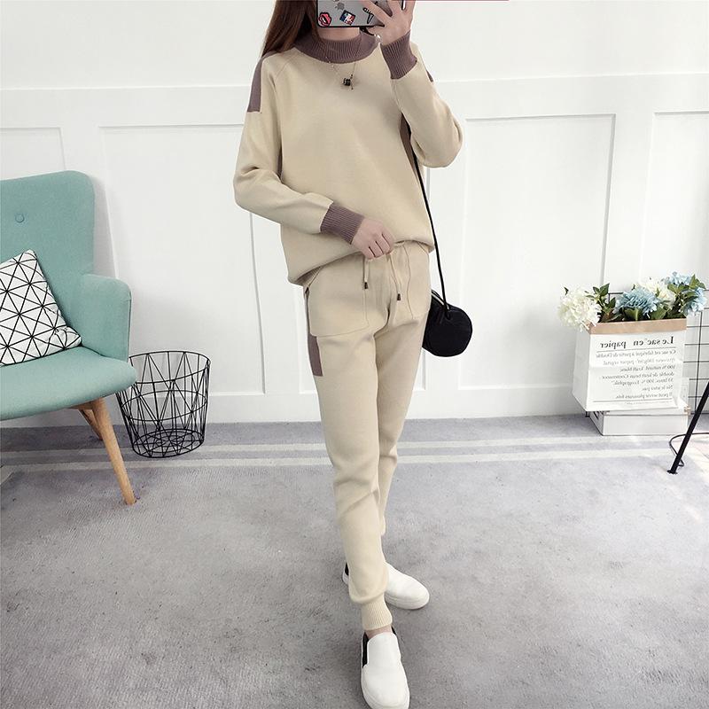 2017件套新款韩版套装潮气质秋冬名媛针织时尚a件套洋气毛衣两女装