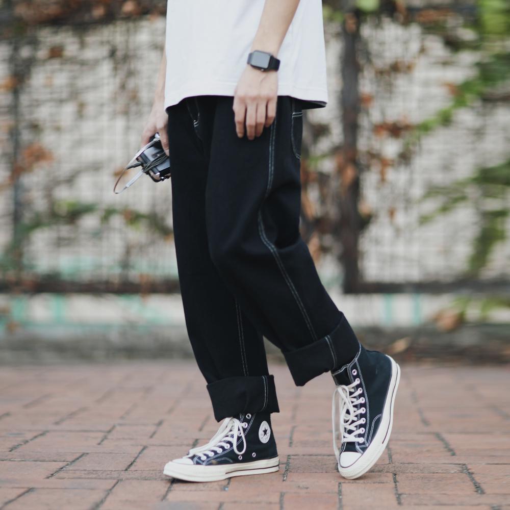 PSO Thương hiệu cơ bản Quần đen Heelline Jeans Nam Straight Loose Casual Quần chân rộng Tide - Quần mỏng