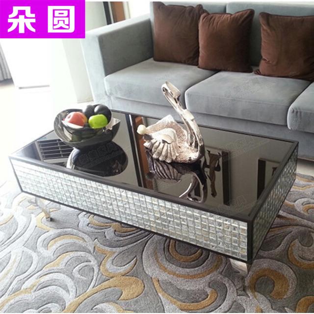 马赛克茶几新古典镜面家具不锈钢客厅茶几欧式沙发边几角几简约