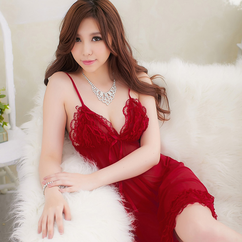 0b56fcd2e Red Mei small chest sexy transparent gauze suspenders nightdress ...