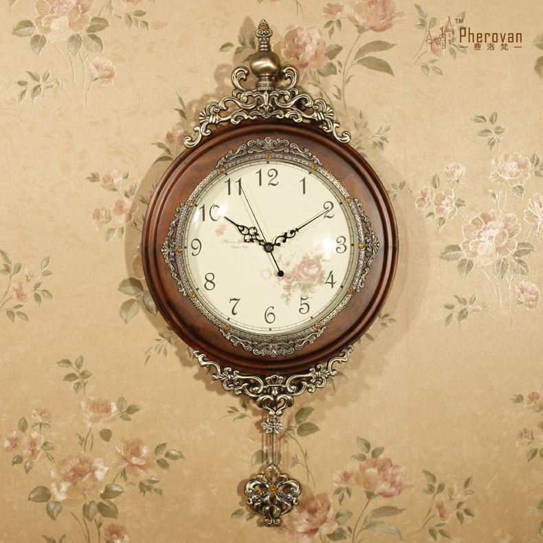 USD 133.13] Luxury European wall clock living room solid wood ...