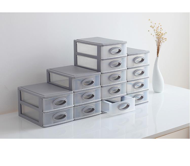办公桌面收纳盒塑料多层小抽屉式文件化妆品储物盒书桌杂物整理箱详细照片