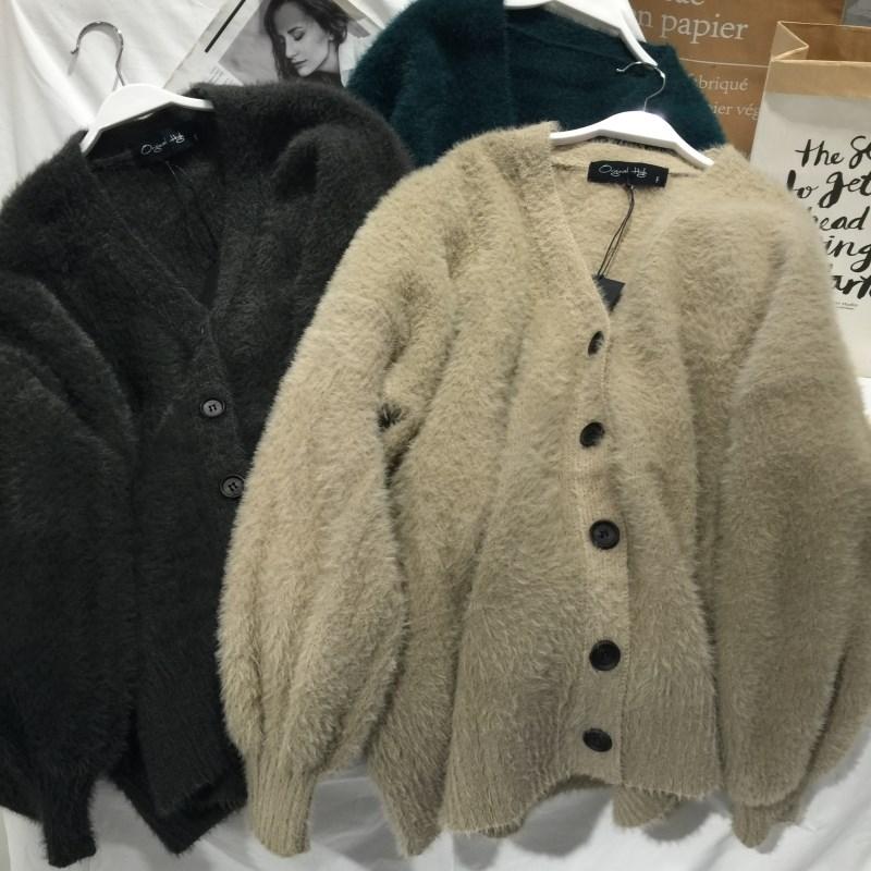 仿貂绒毛衣厚单排女韩版冬季马海毛宽松百搭开衫扣外套袖灯笼长袖