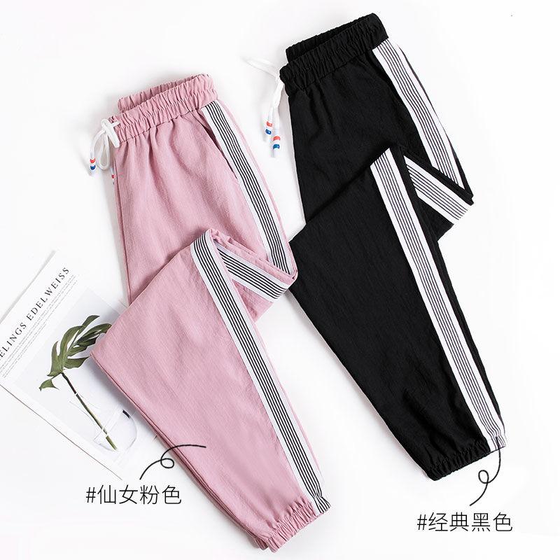 裤子女韩版宽松夏季薄款显瘦九分运动裤