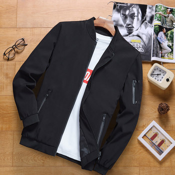 Men's jacket 2019 spring and autumn new trend Korean version of 2020 autumn and winter casual plus velvet jacket jacket men