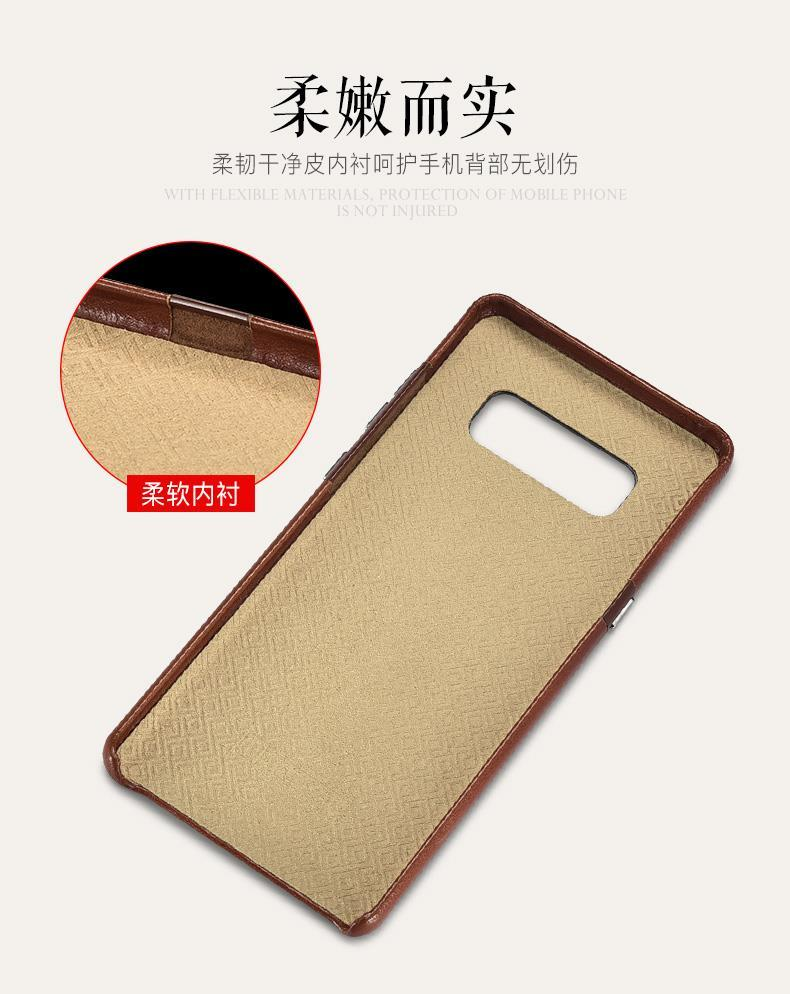 iCarer Transformers Vintage Handmade Genuine Cowhide Leather Back Cover Case for Samsung Galaxy Note 8