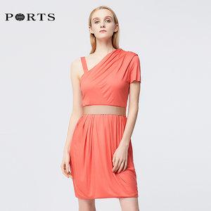 PORTS宝姿新品女装优雅不对称设计褶裥连衣裙LK1N106ICT001