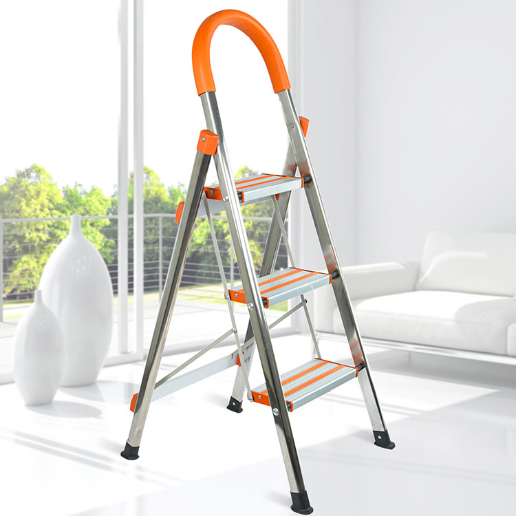 创步家用梯子铝合金加厚折叠梯人字梯扶梯四五步室内阁楼梯工程梯
