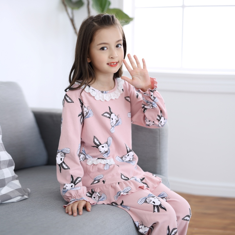2c26372914 Girls pajamas long-sleeved cotton spring and autumn children s cotton  cartoon suit girls fall cotton children s home service