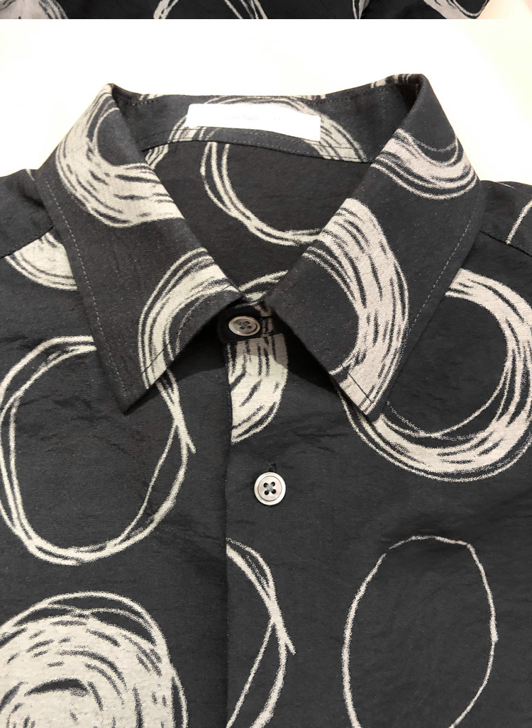 Line Two thin print shirt men's long-sleeved loose-fitting black Korean version of the trend handsome boys shirt design sense 56 Online shopping Bangladesh