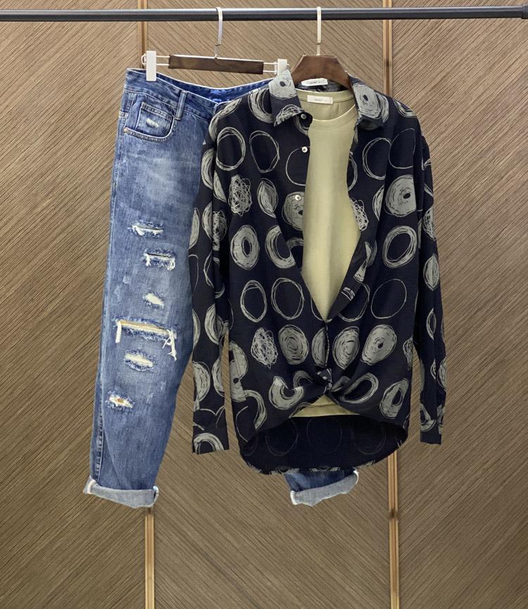 Line Two thin print shirt men's long-sleeved loose-fitting black Korean version of the trend handsome boys shirt design sense 43 Online shopping Bangladesh