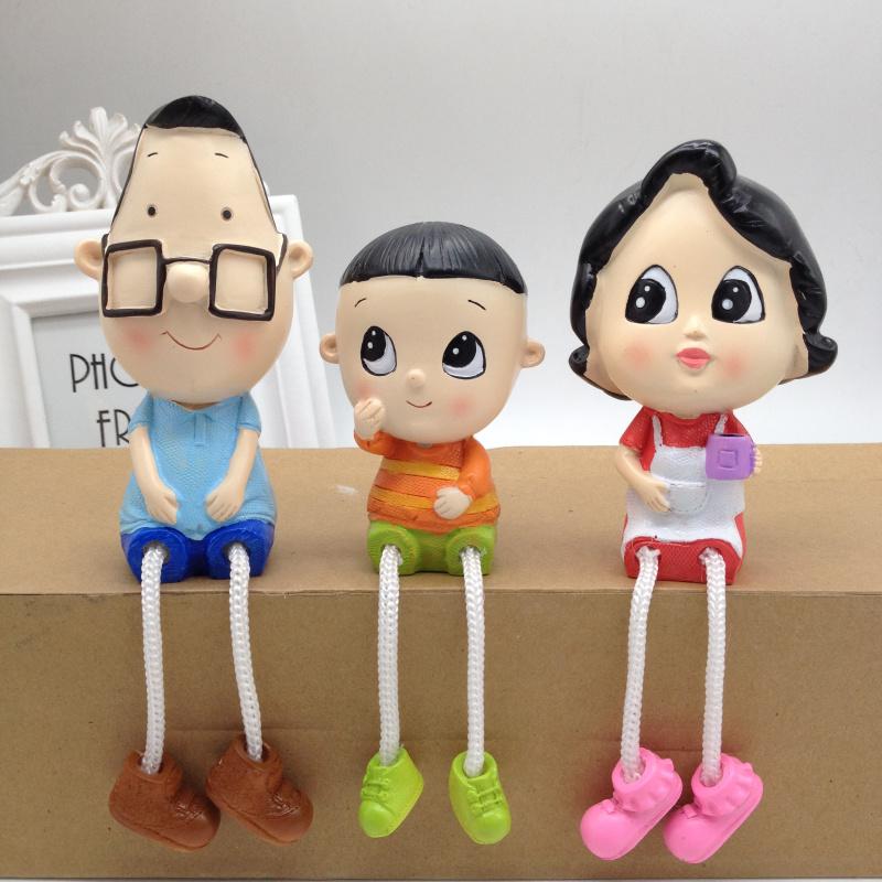 卡通吊脚娃娃一家三口创意人物树脂摆饰家居婚房装饰品工艺小摆件