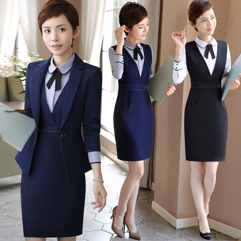 空姐职业装女装正装连衣裙时尚套裙酒店工作服女面试工服套装制服