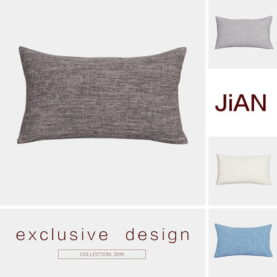 Rectangular Nordic gray solid color cotton and linen sofa pillow cushion bed waist pillow modern minimalist living room office