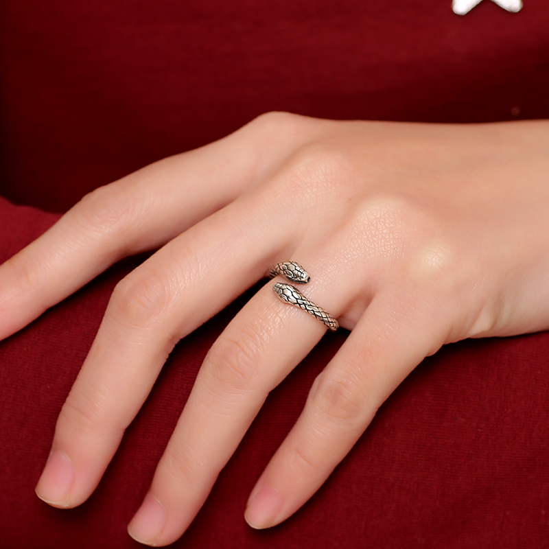 04b8e544d37 Luotai old silversmith opening 925 silver ring male little finger tail  female snake-shaped retro hipster index finger ring jewelry