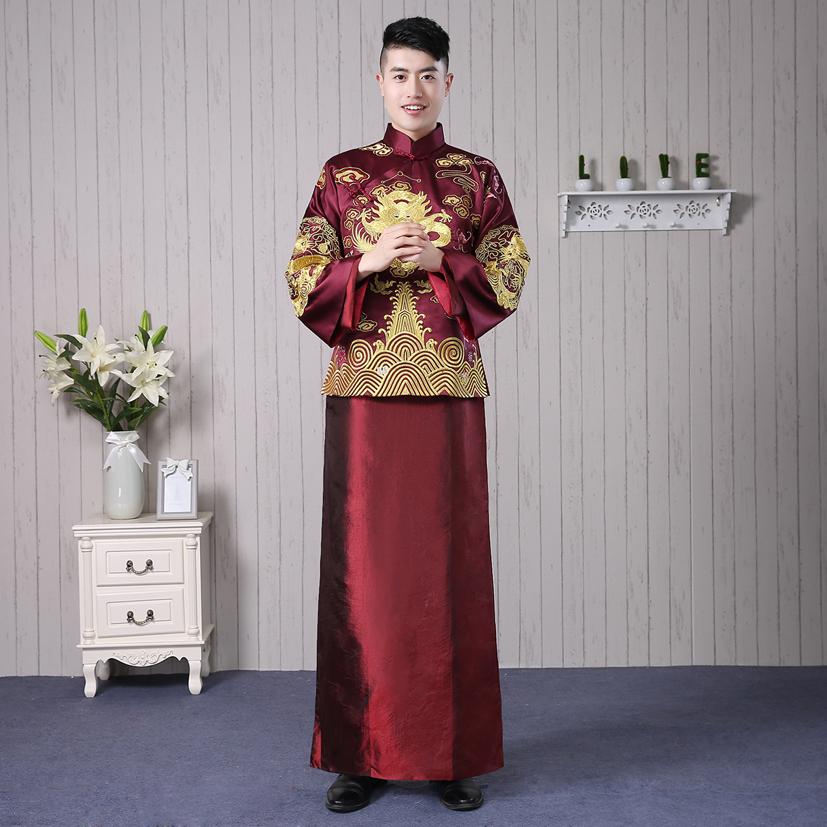USD 256.64] Groom show wo clothing men\'s Dragon and Phoenix gown ...