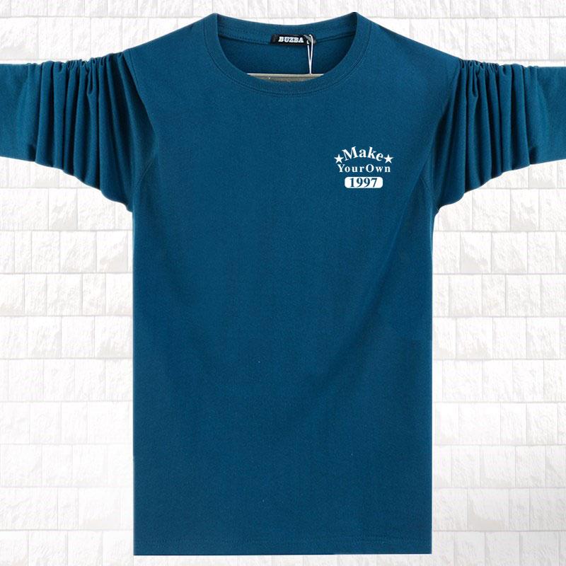 Hàng ngày khuyến mãi dài tay nam T-Shirt mùa xuân và mùa thu phần mỏng cotton vòng cổ cộng với chất béo kích thước lớn loose đáy áo mùa thu quần áo áo thun polo