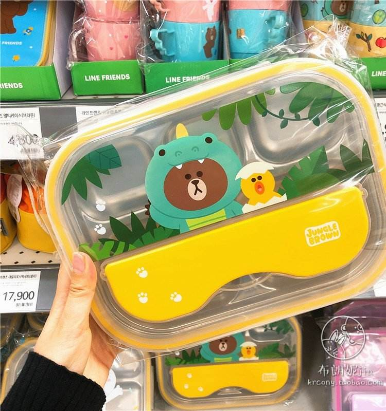 South Korea purchaseS LINE FRIENDS dinosaur brown bear stainless steel  lunch box 5 square plate with lid lunch box bag