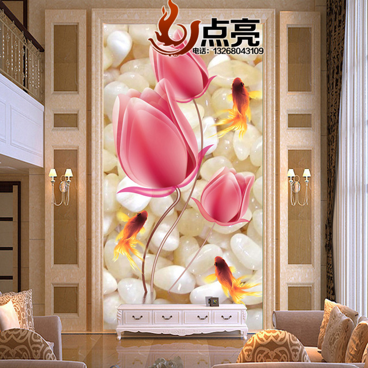3D art glass modern minimalist living room background wall tempered ...
