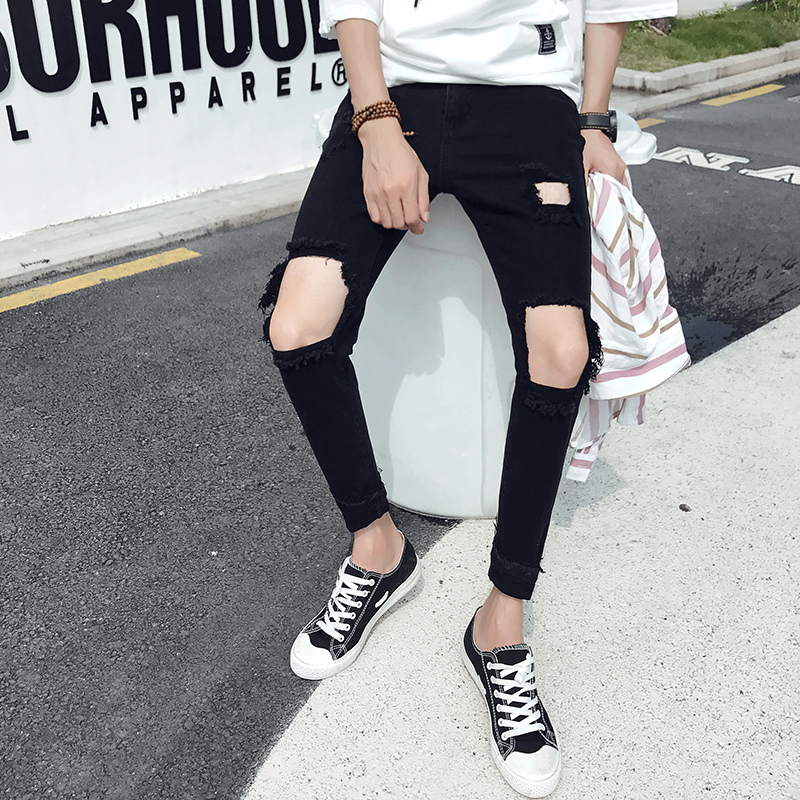 242679ed26e Spring and summer handsome t black knee big hole jeans male slim feet  Korean trend beggar nine pants