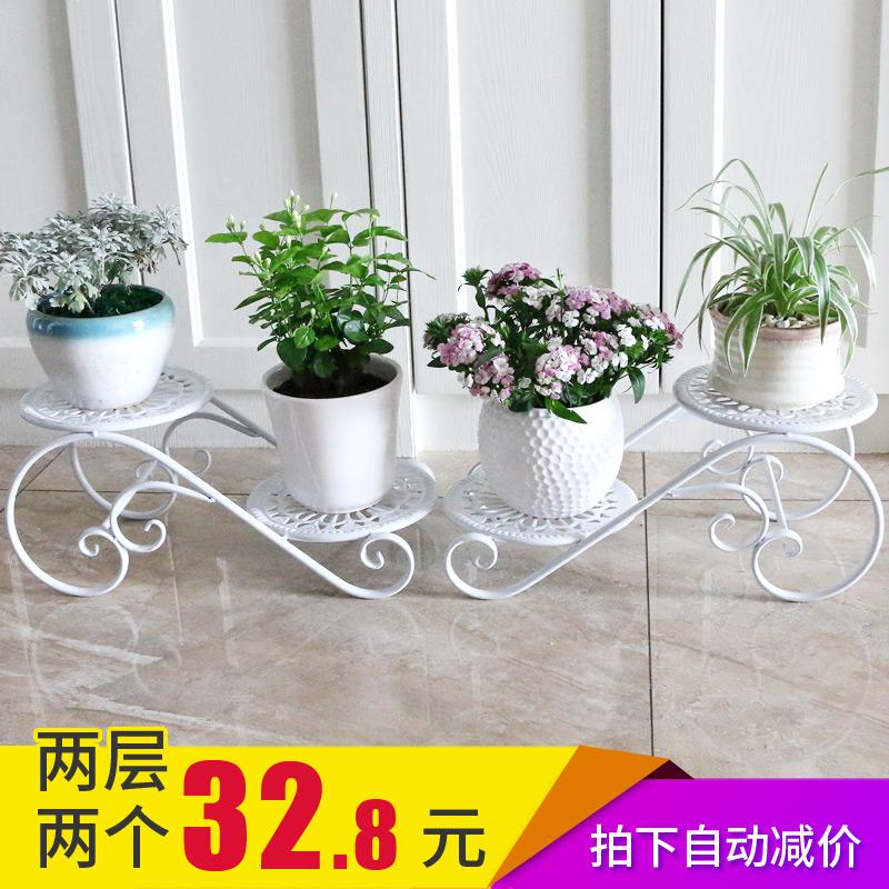 Kệ hoa bằng sắt rèn nhiều lớp trong nhà đặc biệt tiết kiệm không gian ban công phòng khách kiểu châu Âu chậu hoa giá chậu mọng nước - Kệ