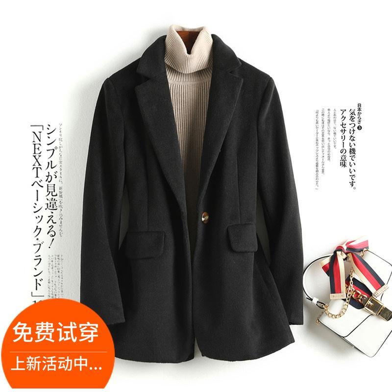 Áo khoác len nữ mùa thu đông 2019 phiên bản mới của Hàn Quốc với kiểu dáng mỏng màu đen dụng cụ màu cà phê phù hợp với đồ len - Accentuated eo áo