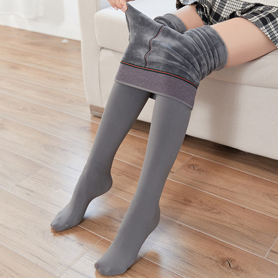 Winter plus velvet thickened leggings women's gray warm and thin pantyhose conjoined beautiful legs socks with feet and feet