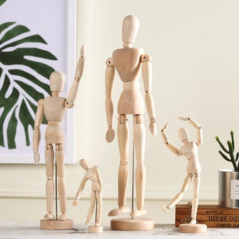 北欧创意木头人模型手工艺品摆件关节家居酒柜书架摆设装饰品客厅