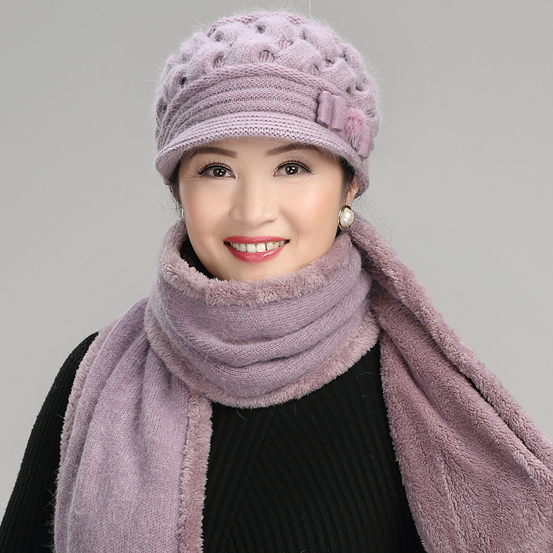 74246c2a4 Middle-aged lady autumn and winter old lady wool old hat scarf female  Winter grandma middle-aged mother hat