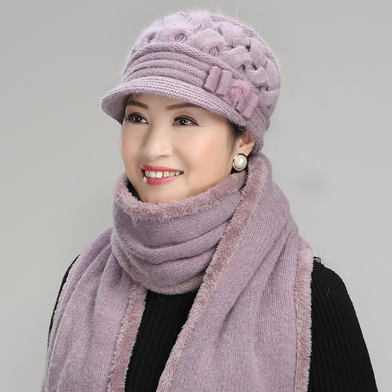 40dda29b Middle-aged ladies autumn and winter old lady woolen old man hat scarf  female Winter granny middle-aged mother hat