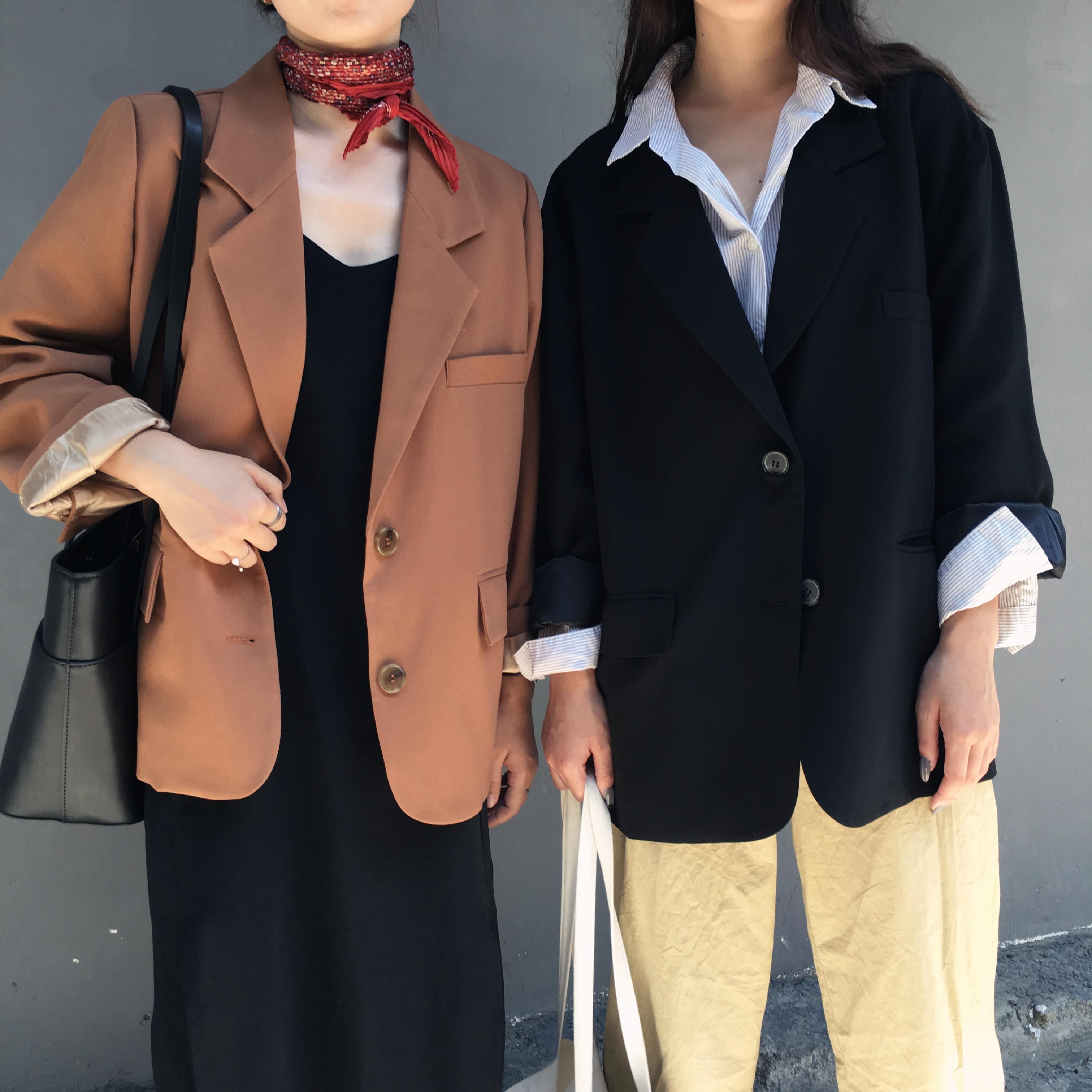 Осень новый ретро chic корейский моды отворот две пряжки небольшой свободный в моделье темперамент длинный рукав костюм пальто женщина