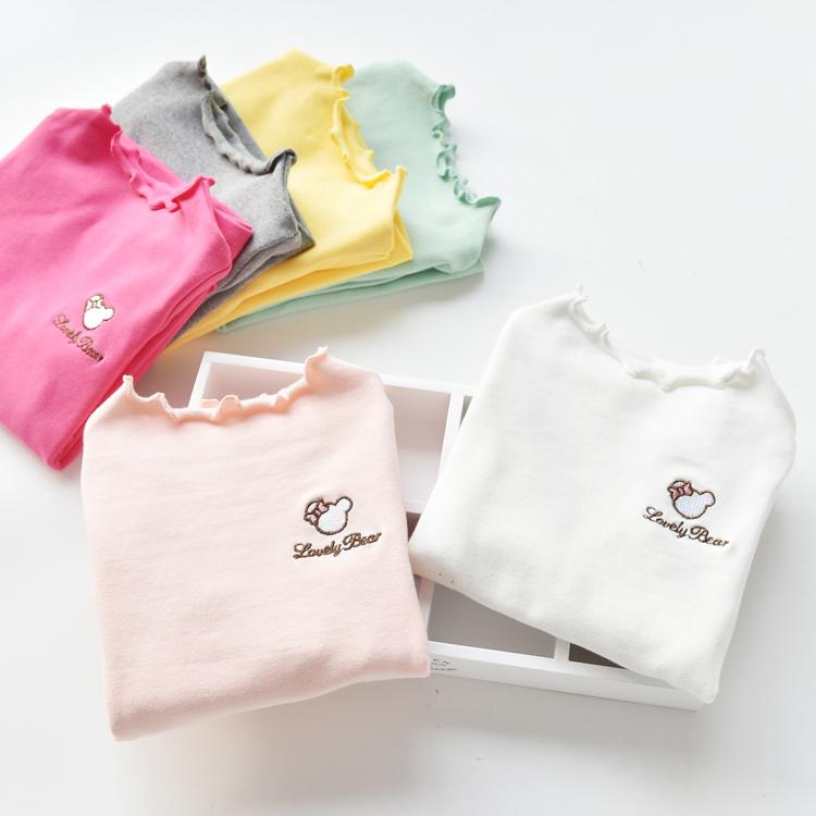 女童打底衫 春秋款儿童装宝宝纯棉中低领百搭中薄白色上衣长袖T恤