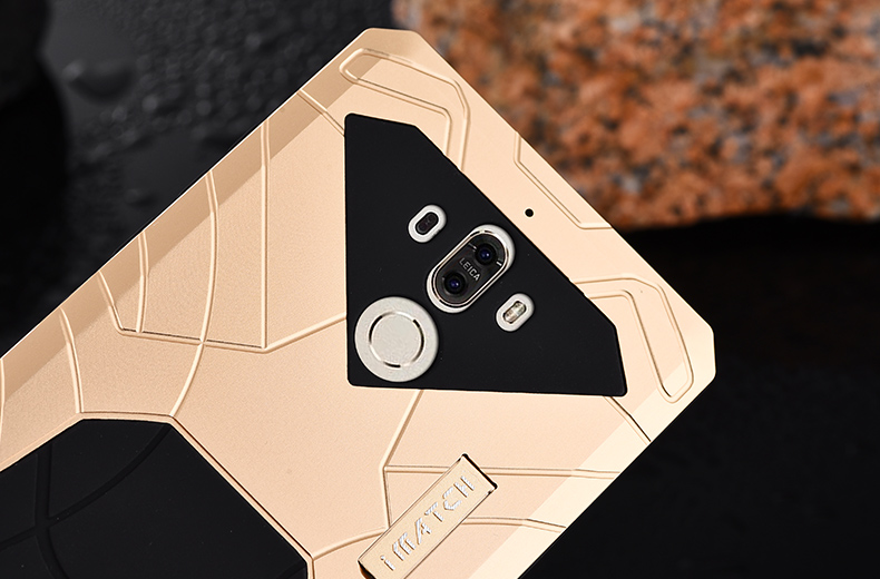 iMatch Shockproof Dust/Dirt/Snow-Proof Aluminum Glass Metal Military Heavy Duty Armor Protection Case Cover for Huawei Mate 9