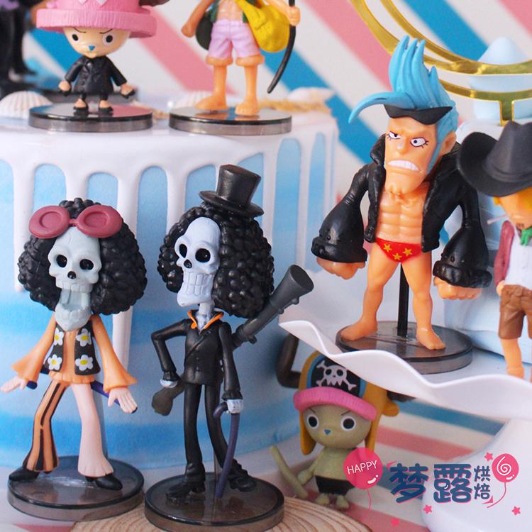 生日蛋糕裝飾火影忍者海賊王主題人偶手辦擺件海盜船帆船情景裝扮疾風傳 動漫周邊 人物模型