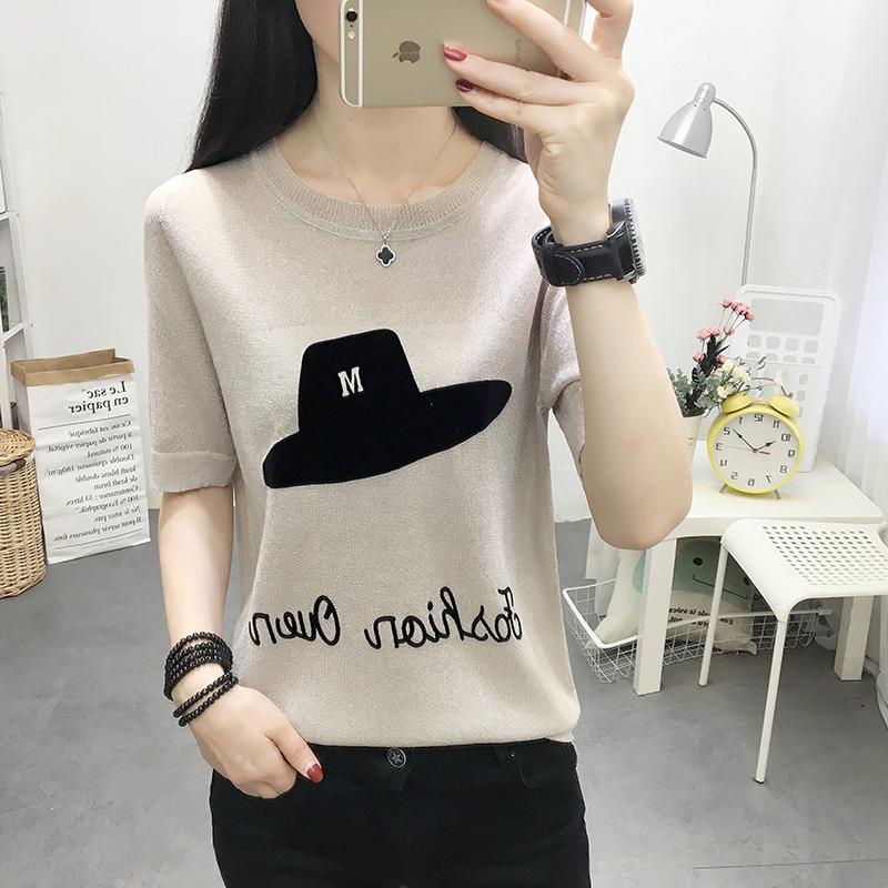 冰丝针织t恤女短袖宽松夏季韩版女装2019新款潮百搭薄款打底上衣