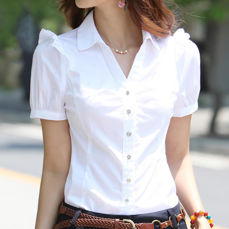 夏季V领职业衬衫女装正装短袖衬衫
