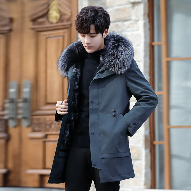 Pai over-overcome situ men's rabbit fur inside the bile fur one-length coat 2019 winter king