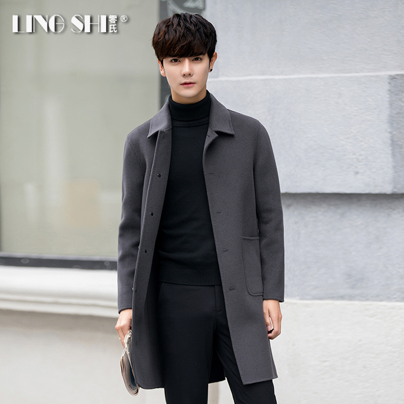 Autumn and winter wool coat men's double-sided cashmere nit-man coat medium long Korean version of the British wind wind coat ni