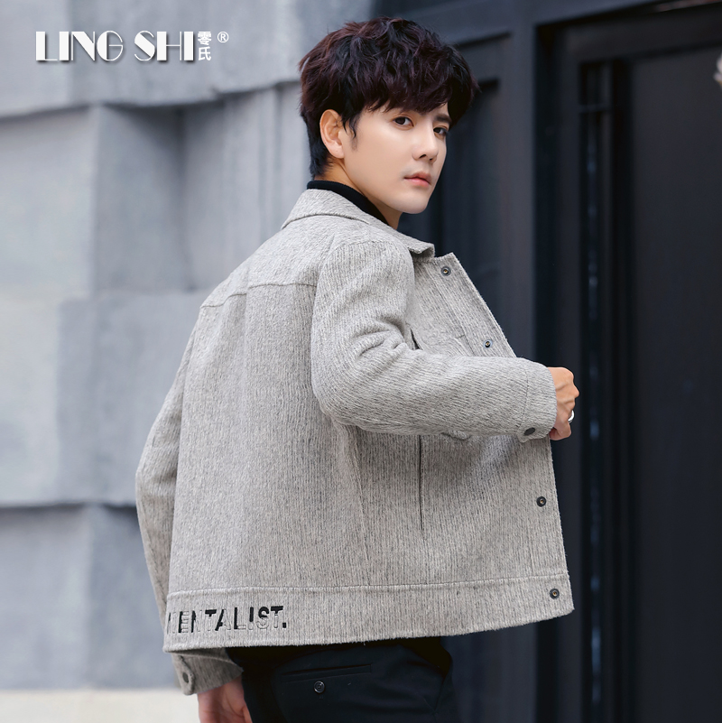 Men's double-sided jacket top autumn and winter wool Korean version of short workwear no cashmere coat coat trend