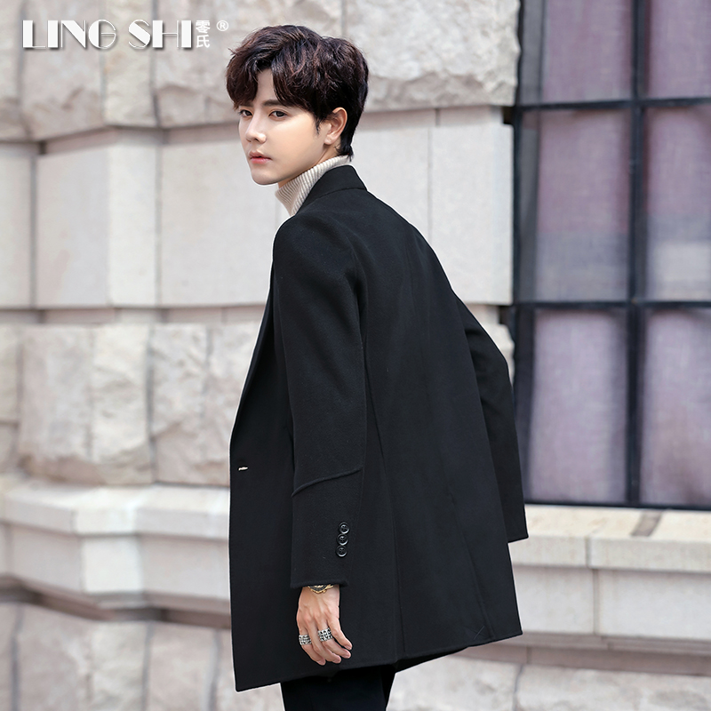 Autumn and winter men's double-sided nizi coat in the long thick cashmere wool coat Korean version of the windbreaker tide