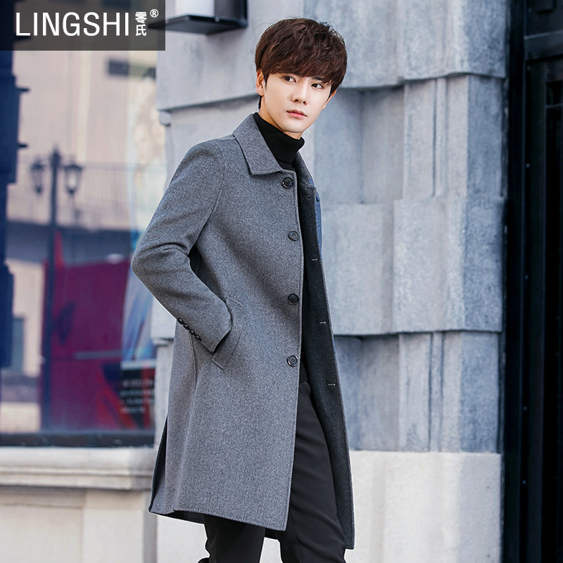 Double-sided ni wool son coat men's winter thickened medium-length cashmere nit-man coat English windbreaker